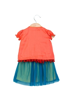 Peach & blue cotton silk hand embroidered top with skirt