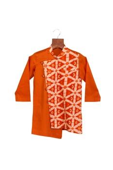 Orange cotton silk one side printed kurta with chudidar