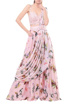 Pink embellished bustier with draped saree set