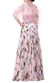 Rose pink organza & crepe ruffle blouse with flared floral skirt
