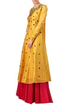 Yellow cotton silk zari & thread embroidered kurta with red cotton palazzos