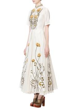 Ivory cotton silk thread & zari embroidered skater maxi dress