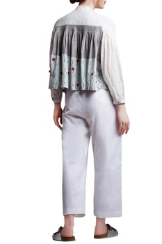Multi-colored linen regular paneled pleated tunic with white linen pants