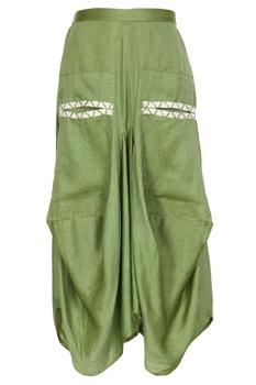 Green cotton satin metallic leather boxy skirt with pockets