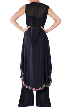 Black embellished floral sheer cape