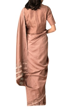 Taupe hand embroidered saree