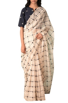Ivory handwoven chanderi zari saree