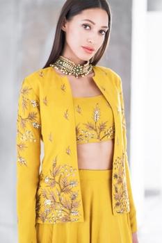 Mustard satin cotton sequin & zari work lehenga with crop top & jacket