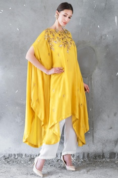 Mustard & white satin cotton sequin & zari work high-low cape with palazzos