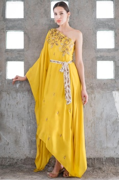 Mustard & white satin cotton sequin & zari work one-shoulder dress