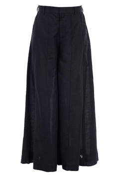 Black cotton linen panelled flared pants