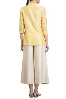 Yellow chanderi horse motif warli shirt
