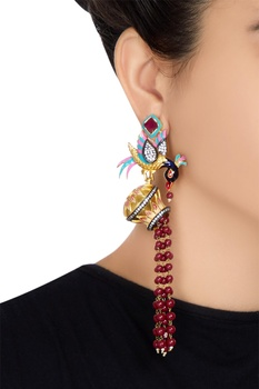 Bird motif long dangling earrings