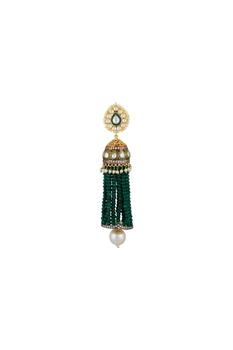 Jhumka earrings with green beaded tassels