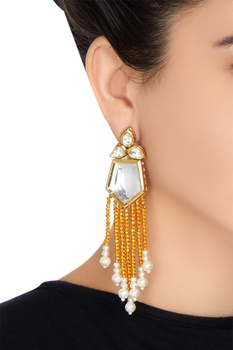 Kundan & multicolored bead long earrings
