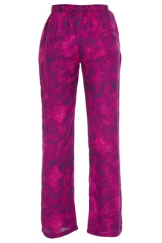 Tropical printed elastic casual pants