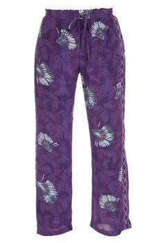 Tropical printed elastic waist pants