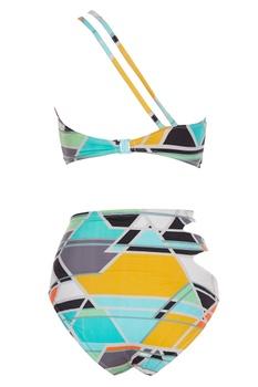 Color block printed one-shoulder bikini set