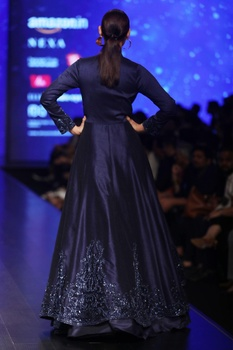 Midnight blue lace lehenga with dupion silk sequin jacket