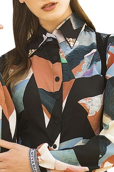 Multicolored long shirt with pants & sheer black jacket