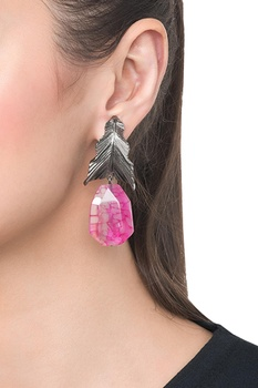 Pink brass banded agate leaf drop earring