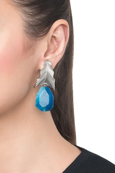 Blue brass banded agate leaf drop earring