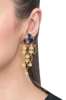 Blue brass banded agate leaf drop earring