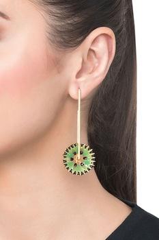 Green brass flower shaped dangler earrings