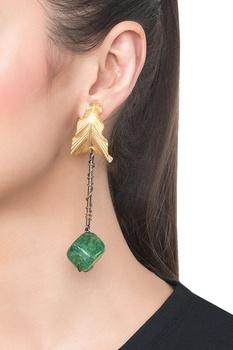Green brass onyx leaf gemstone earring