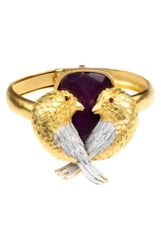Gold brass agate love bird bracelet