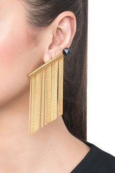 Golden brass multi tiger eye tassel earrings