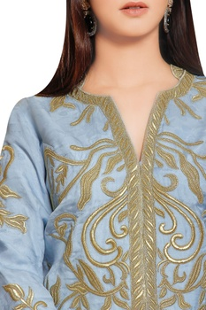 Steel grey organza gold embroidered jacket with flared georgette pants