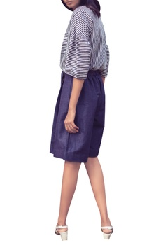Blue & white stripe hand-woven cotton shirt with gathered sleeves
