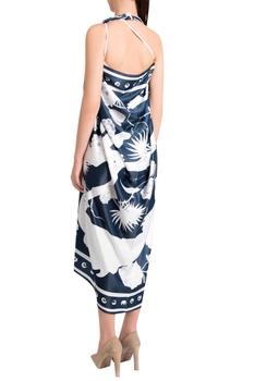 White silk satin izu juno printed scarf with iconic detailing