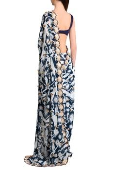 White italian jersey izu juno printed & phoenix skein work tailored pleated skirt saree