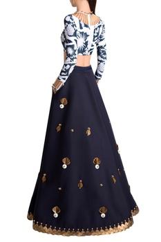 White & blue neoprene izu juno printed blouse