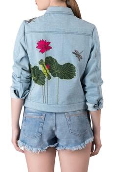 Floral motif embroidered denim jacket