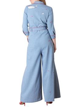 Pale blue denim broiler-style jumpsuit