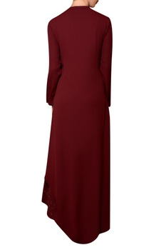 Wine viscose georgette bead hand embroidered dress