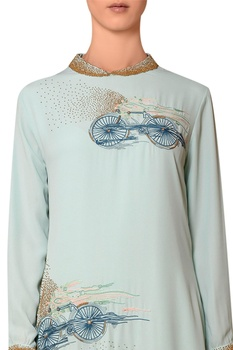 Mint blue viscose georgette bead & thread hand embroidered dress
