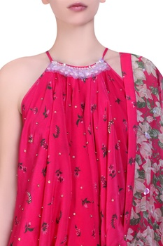 Hot pink crepe embroidered halter neck blouse with cowl dhoti saree
