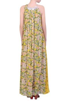 Yellow crepe bibi jaal printed halter maxi dress