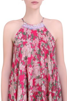 Hot pink crepe bibi jaal printed flared neck dress