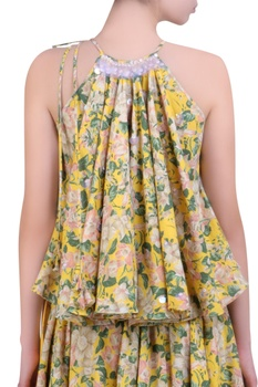 Yellow cotton bibi jaal printed & embroidered top with wrap skirt