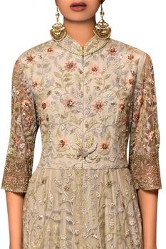 Pastel blue butterfly net & silk chiffon machine & hand embroidered gown