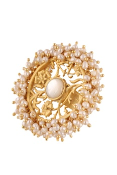 Gold brass  plated ring with mother of pearl and pearl beads