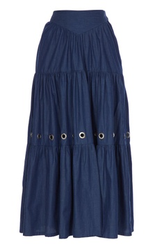 Blue tiered style denim maxi skirt