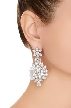Long dangling floral pattern earrings