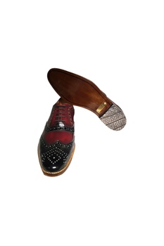Black & cherry leather handcrafted brogues