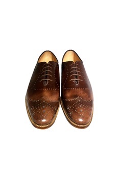 Brown leather handcrafted brogues